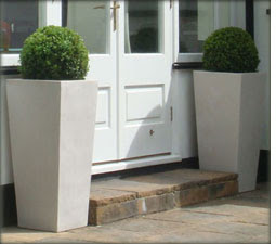 White Contemporary Polystone Patio Garden Planters