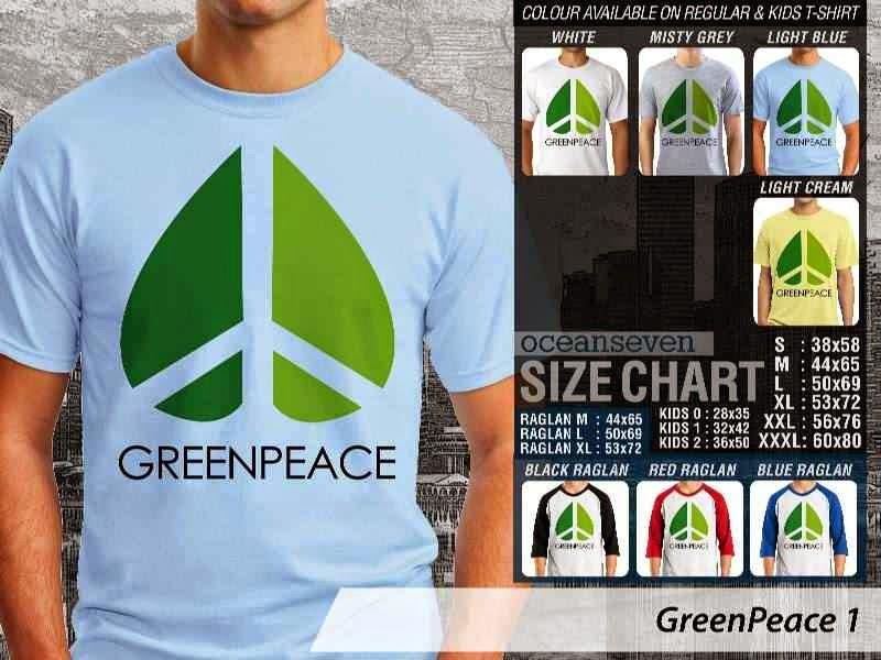 KAOS Cinta Bumi GreenPeace 1 | KAOS Selmatkan Bumi greenpeace distro ocean seven
