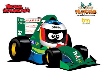 pilotoons Михаэль Шумахер Jordan - дебют в Спа на Гран-при Бельгии 1991