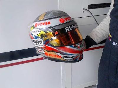 специальная раскраска шлема Пастора Мальдонадо для Гран-при Великобритании 2012