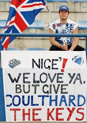баннер болельщика в поддержку Дэвида Култхарда в команде Williams на Гран-при Европы 1994