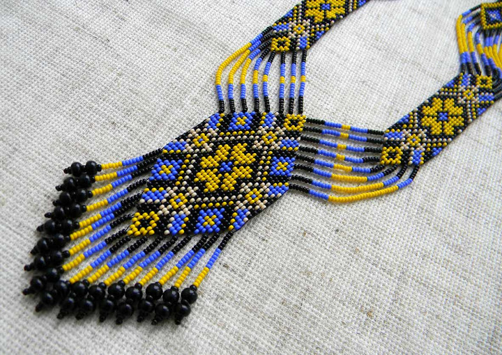 украшение из бисера на шею этнические украшения интернет магазин