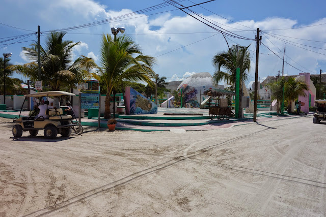 Golf carts and sand streets on Isla Holbox.