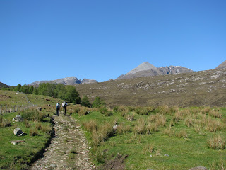 Walking up Gleann Chaorachain (Sail Liath on left and Glas Mheall Liath right of centre)