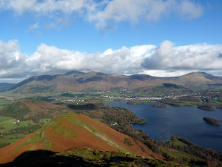Skelgill Bank in the sun with Skiddaw Derwentwater and Blencathra