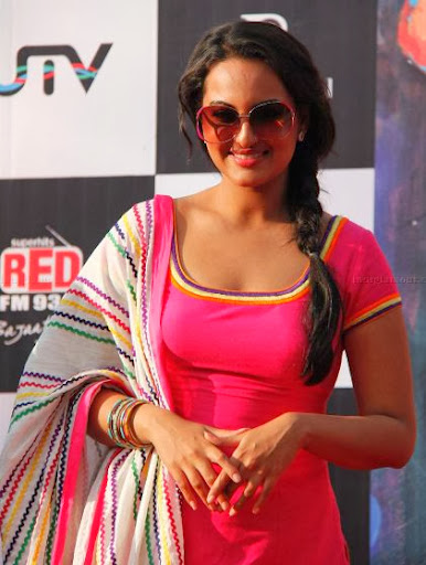 Sonakshi Sinha Fabulous Pictures Pink Salwar Suit With Braided Hairstyles