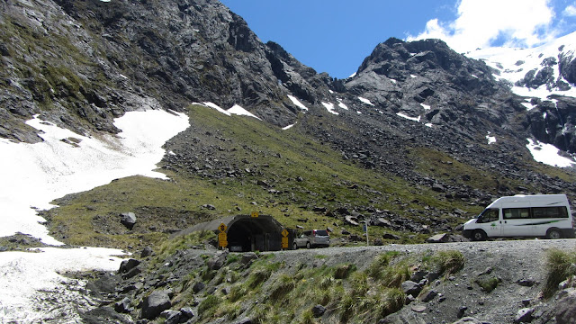 The entrance to the 1.2km long Homer Tunnel.