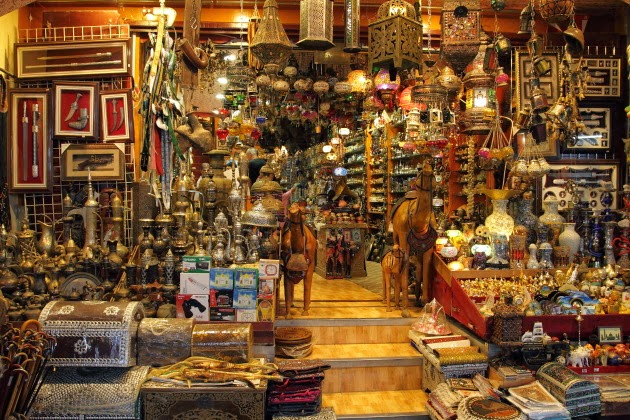 Lot of Omani Souvenirs on display at Mutrah Souk, Muscat, Oman
