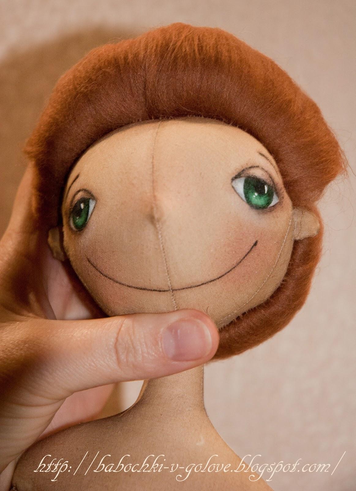 Пришить волосы из кукле из ткани