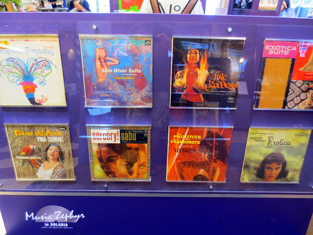 Records on display by a DJ in Solaria Plaza, for the Music City Tenjin festival