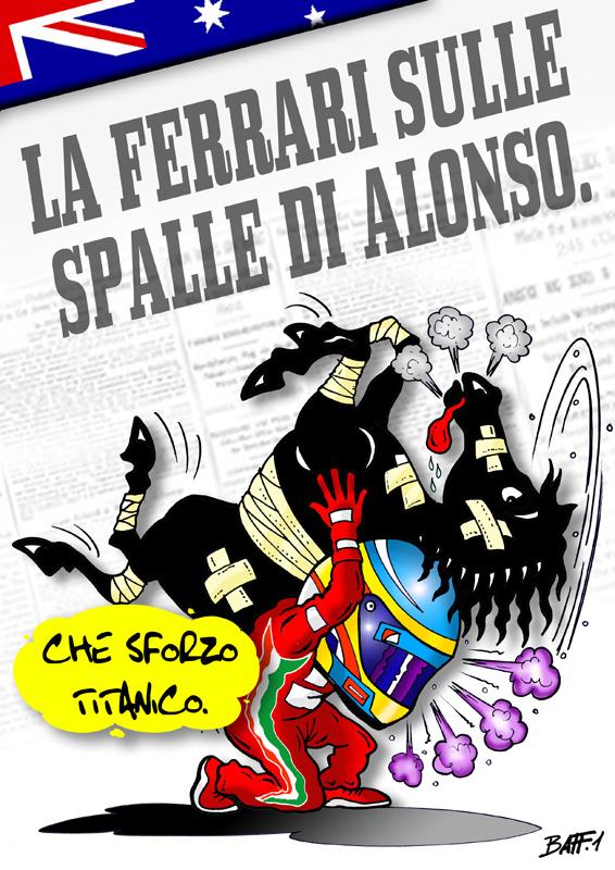 Фернандо Алонсо с Ferrari на спине - комикс Baffi по Гран-при Австралии 2012