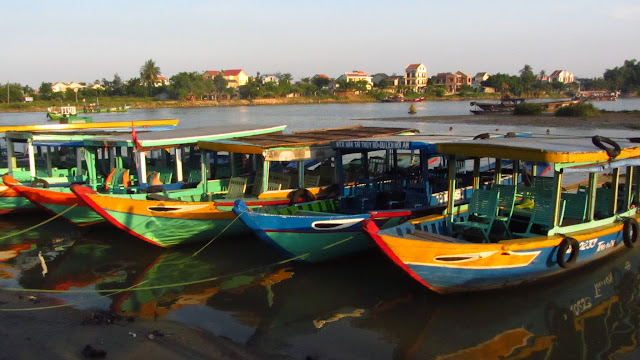 Colorful water taxis in Hoi An.