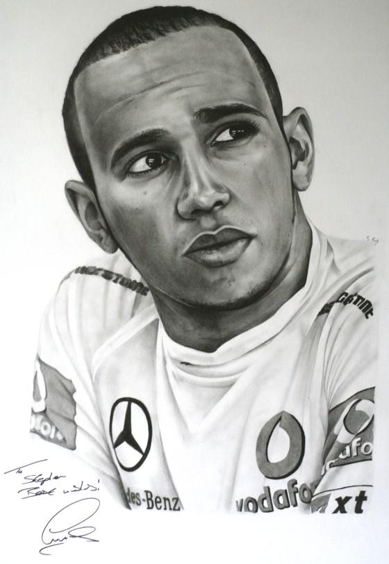 черно-белый рисунок Льюиса Хэмилтона от SKPortraitArt