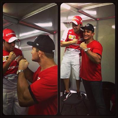 Фелипе Масса боксирует с чемпионом в Рио 10 марта 2013