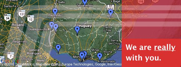 Map of the largest car rental network in Uruguay.