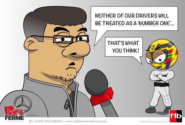 Росс Браун о первых номерах в команде Mercedes - комикс Chris Rathbone
