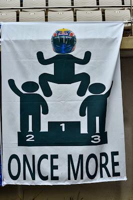 Once more - баннер болельщиков в поддержку Марка Уэббера на трибуне Гран-при Кореи 2013