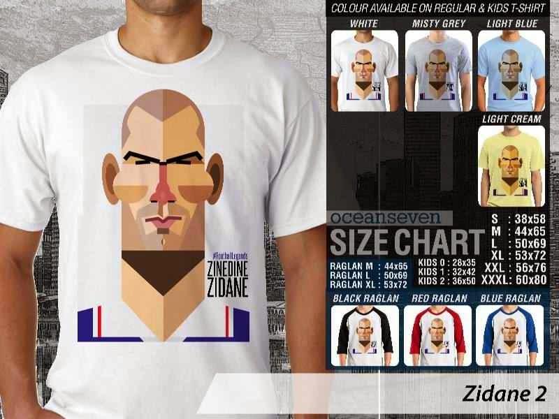 KAOS Zinedine Zidane 2 Kartun Bola distro ocean seven