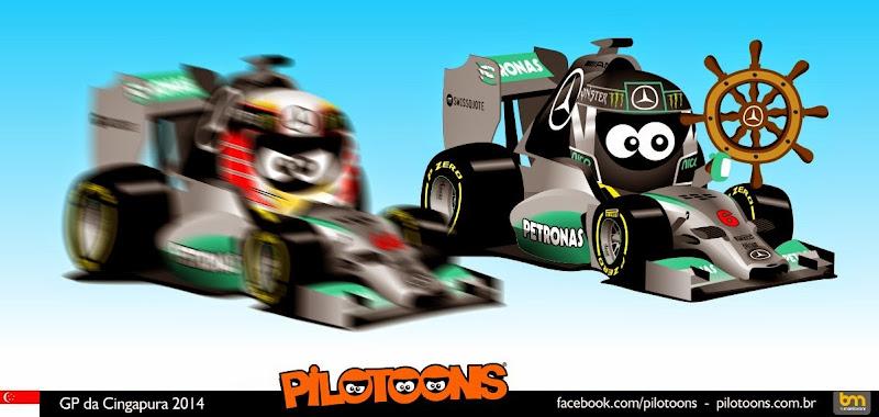 проблемы Нико Росберга с рулевым колесом и Льюис Хэмилтон выходит вперед в чемпионате - комикс pilotoons по Гран-при Сингапура 2014