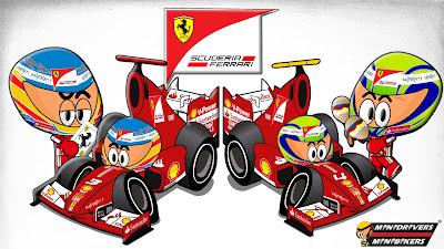 Фернандо Алонсо и Фелипе Масса Ferrari F138 - Los MiniDrivers 2013
