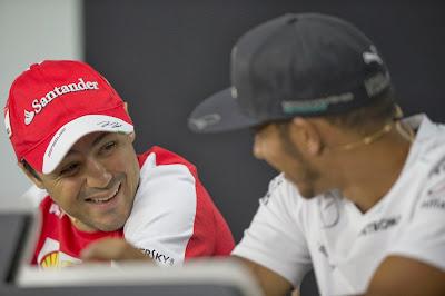 Фелипе Масса и Льюис Хэмилтон на пресс-конференции в четверг на Гран-при Кореи 2013