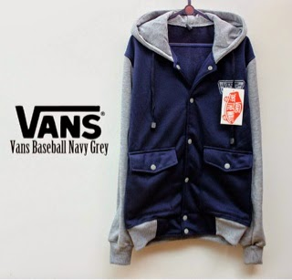 Jaket Vans Baseball Navy Grey