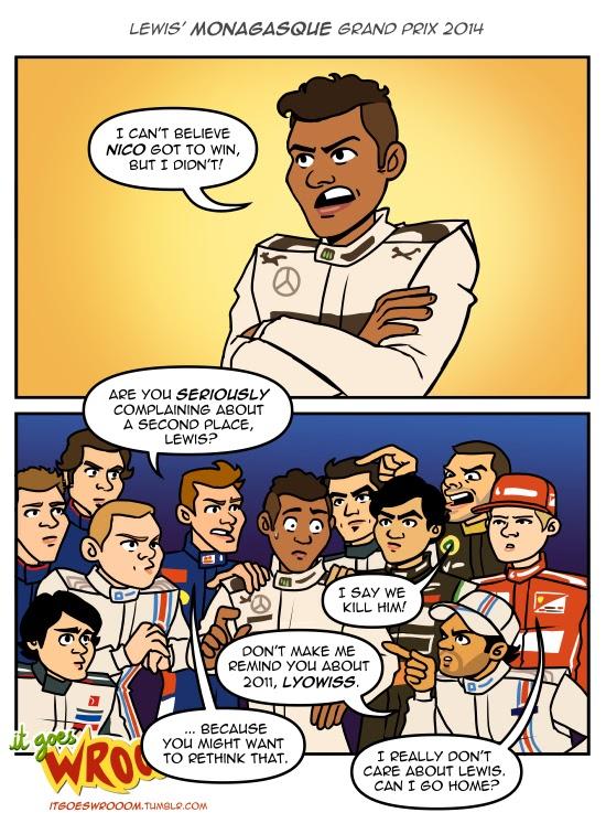 Льюис Хэмилтон недоволен вторым местом - комикс It Goes Wrooom по Гран-при Монако 2014