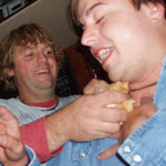 Dan gets bread shoved down his shirt by Les