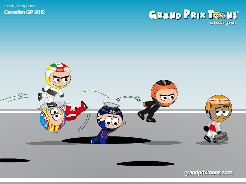 комикс о черных дырах Pirelli от Grand Prix Toons - Black Pirelli Holes - по Гран-при Канады 2012