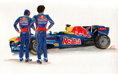 рисунок Себастьян Феттель и Марк Уэббер смотрят на болид Red Bull