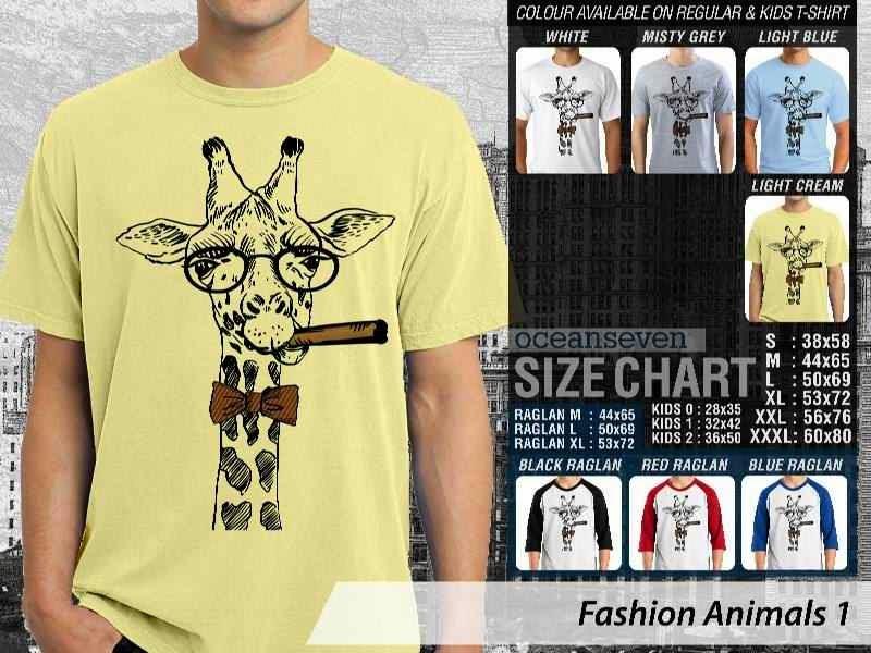 Kaos Fashion Animals 1 Binatang Jerapah Giraffe distro ocean seven
