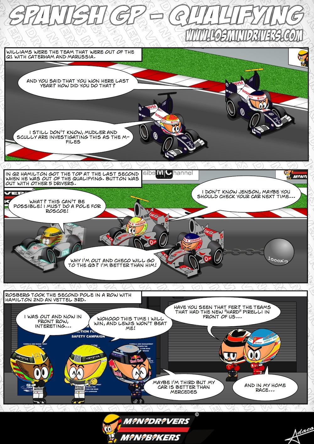 комикс MiniDrivers по квалификации на Гран-при Испании 2013