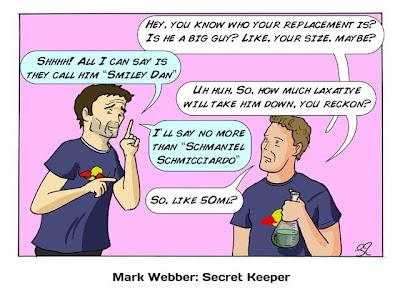 Марк Уэббер пазбалтывает информацию об его замене на Гран-при Бельгии 2013 - комикс Stuart Taylor