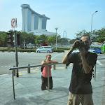 Poranek na Marina Bay z Marina Bay Sands w tle.