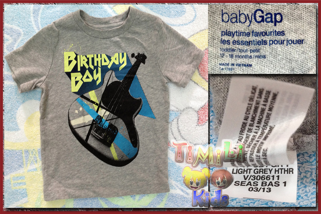 Áo thun bé trai BabyGap vietnam xuất khẩu, Birthday Bay
