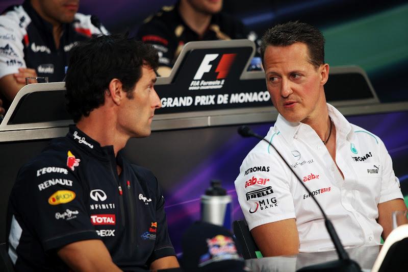 Марк Уэббер и Михаэль Шумахер на пресс-конференции в среду на Гран-при Монако 2012