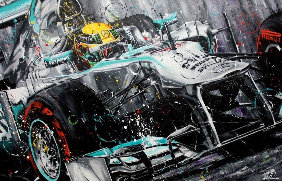 Льюис Хэмилтон Mercedes 2013 - рисунок Art Rotondo