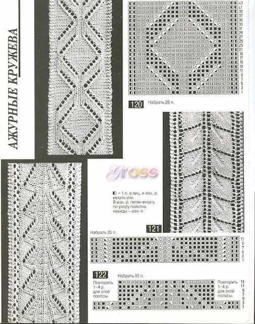 Бесплатные схемы вязания спицами и. описания, схемы. связанных на спицах; Узоры и. Узоры