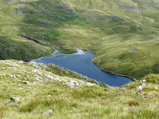 Looking down on Stickle Tarn.