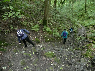 Nearly falling over on a very muddy descent through Little Shacklow Wood