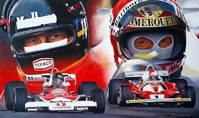 Картина Торопить, Джеймс Хант McLaren M23B и Ники Лауда Ferrari 312T2, 1976год, 30х50см, холст.масло. 31.07.2013г.