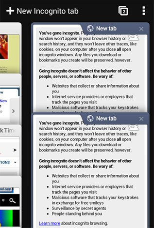 Incognito mode in Android Chrome Browser
