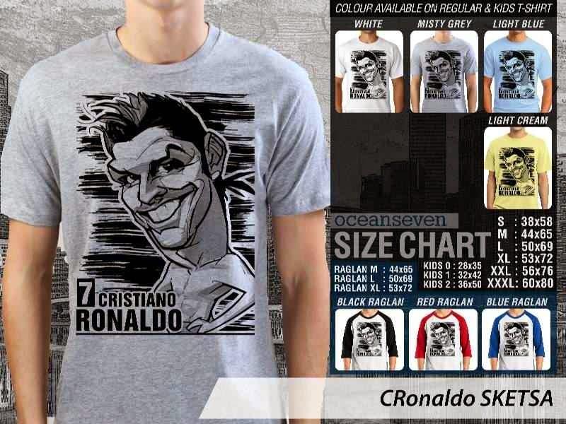 KAOS Cristiano Ronaldo Artwork Sketsa distro ocean seven