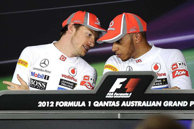 Дженсон Баттон и Льюис Хэмилтон на пресс-конференции после Гран-при Австралии 2012