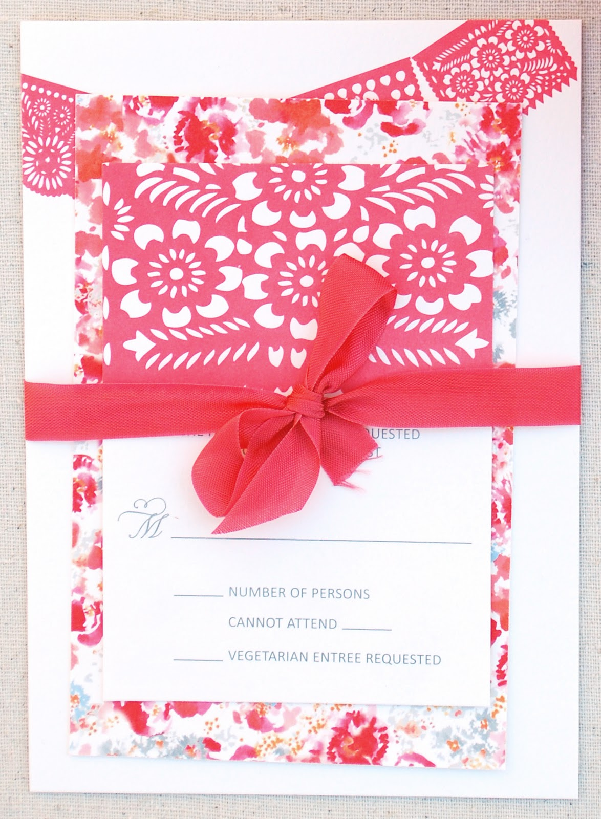 papel picado wedding invitation template