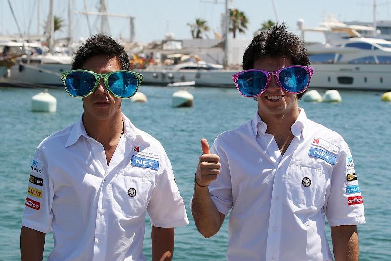 Камуи Кобаяши и Серхио Перес в гигантских очках на Гран-при Европы 2012
