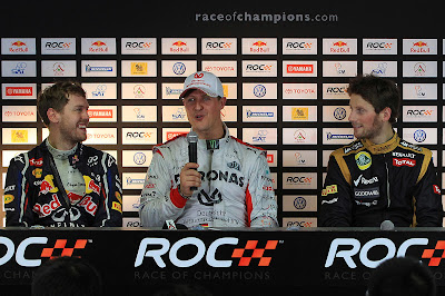 Себастьян Феттель Михаэль Шумахер Ромэн Грожан на пресс-конференции Гонки чемпионов 2012