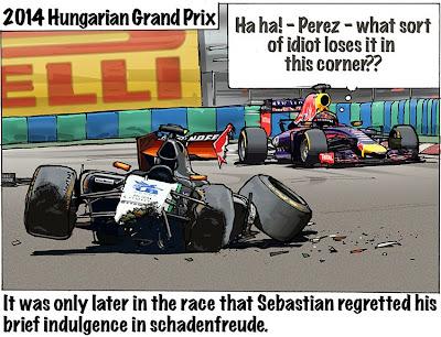 Серхио Перес и Себастьян Феттель ошибаются в одном повороте - комикс Bruce Thomson по Гран-при Венгрии 2014
