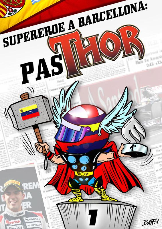 Супергерой Барселоны Пастор Мальдонадо на Гран-при Испании 2012 - комикс Baffi