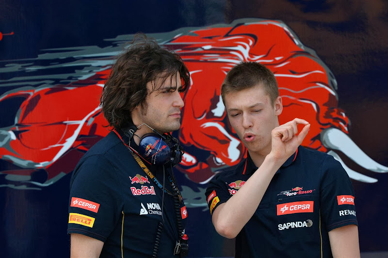 Даниил Квят и механик Toro Rosso на предсезонных тестах в Бахрейне 28 февраля 2014